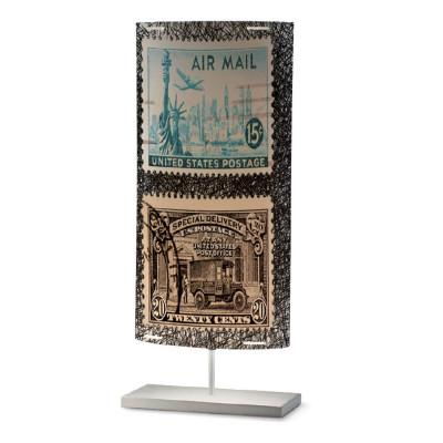 Artempo - Castor and Pollux - Artempo Castor e Pollux Serie Stamps TL L Vintage Tischlampe - Briefmarken dekoriert 10 - LS-AT-814