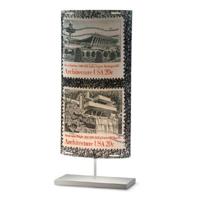Artempo - Castor and Pollux - Artempo Castor e Pollux Serie Stamps TL L Vintage Tischlampe - Briefmarken dekoriert 4 - LS-AT-812