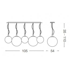 Ideal Lux - Eclisse - MAPA SP5 - Leuchter mit fünf kugelförmigen Diffusoren