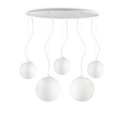 Ideal Lux - Eclisse - MAPA SP5 - Leuchter mit fünf kugelförmigen Diffusoren - Weiße Streifen Dekoration - LS-IL-186894
