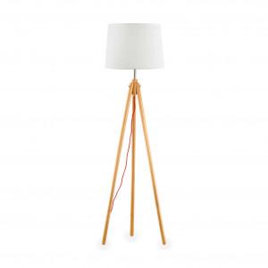 Ideal Lux - Nordico - York PT1 - Holz-Bodenlampe mit Stoffschirm