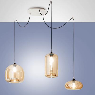 Fabas Luce - Fiona - Fiona SP - Bloe glass chandelier - Amber - LS-FL-3496-47-125