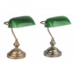 Faro - Indoor - Rustic - Banker TL - Classic table and desk lamp with green glass diffuser