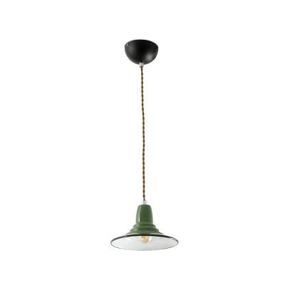 Faro - Indoor - Rustic - Ninette SP - Rustic suspension lamp made of metal - Green - LS-FR-64165
