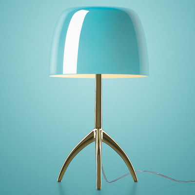 Foscarini - Lumiere - Lumiere TL L - Table lamp L with dimmer - Champagne / turquoise - LS-FO-026021R2-32-D