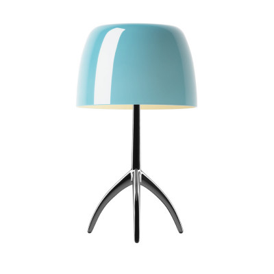 Foscarini - Lumiere - Lumiere TL L - Table lamp L with dimmer - Dark chrome / turquoise - LS-FO-026011R2-32-D