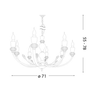 Ideal Lux - Chandelier - Vanity SP8 - Classic chandelier with eight lights