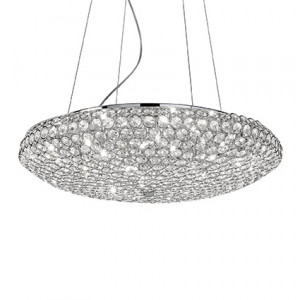 Ideal Lux - Diamonds - King SP12 - Elegant suspension lamp with crystals - Chrome - LS-IL-088013