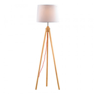 Ideal Lux - Nordico - York PT1 - Wooden floor lamp with fabric lampshade