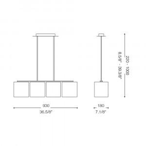 Ideal Lux - Tissue - HILTON SB4 - Pendant lamp