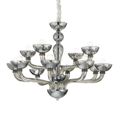 Ideal Lux - Venice - Casanova SP12 - Handmade glass chandelier - Fumé - LS-IL-095622