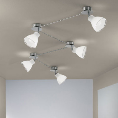 Linea Light - Campana - Campana - Adjustable ceiling lamp with 5 lights - Satin nickel - LS-LL-4429