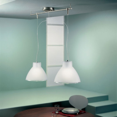 Linea Light - Campana - Campana - Pendant lamp with two lights - Satin-finished nickel - LS-LL-4432