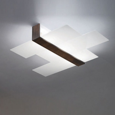 Linea Light - Triad - Triad - Walnut ceiling lamp three glasses M