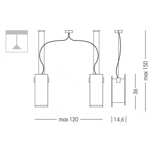Linea Light - Triad - Triad - Walnut ceiling lamp two lights