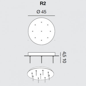 Rotaliana - Furin - Furin R2 - Round ceiling rose for nine lamps