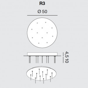Rotaliana - Furin - Furin R3 - Round ceiling rose for twelve lamps