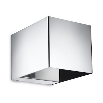 Traddel - Bi emission outdoor applique - U-Bi - Cubic wall lamp with double light emission - Electropolished stainless steel - LS-SK-59281