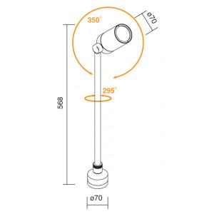 Traddel - Garden lighting peg - Vision 2 - Ground lighting pole