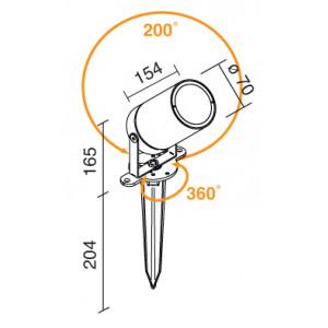 Traddel - Garden lighting peg - Vision 2 - Lighting pole peg