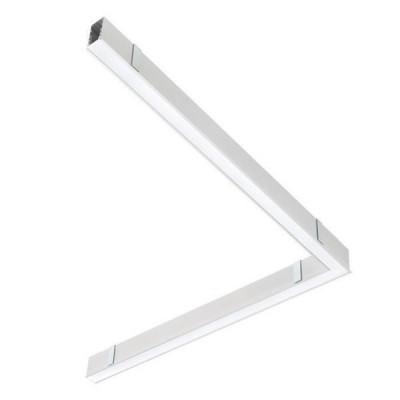 Traddel - Profilo incasso totale - Mini Outline FLUO - 90° curve ceiline/ceiling dx - White RAL 9010 - LS-LL-62144