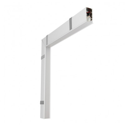 Traddel - Profilo incasso totale - Mini Outline LED - 90° curve wall/ceiling - White RAL 9003 embossed -  - Warm white - 3000 K - Diffused