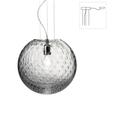 Vistosi - Bolle - Bolle SP 35 D1 - One light chandelier with decentralized attachment - Crystal baloton - LS-VI-SPBOLLE35D1CR