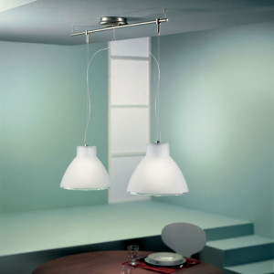 Linea Light - Campana - Campana - Suspension à deux lumières - Nickel satiné - LS-LL-4432