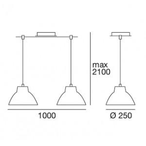Linea Light - Campana - Campana - Suspension à deux lumières