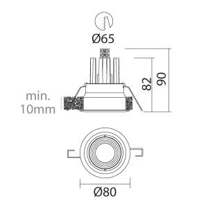 i-LèD - Outlet - Faretto da incasso a soffitto Arent - Proiettore ad ottica fissa con led antiabbagliamento