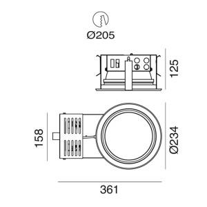 i-LèD - Outlet - Faretto da incasso a soffitto Dorian M - Downlight LED