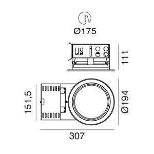 i-LèD - Outlet - Faretto da incasso a soffitto Dorian S - Downlight LED