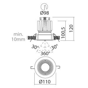 i-LèD - Outlet - Faretto da incasso a soffitto Judit - Proiettore a led con ottica basculante antiabbagliamento
