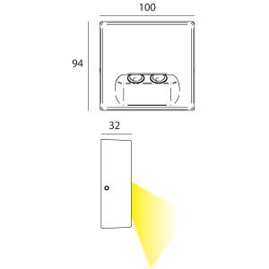 i-LèD - Outlet - Faretto da parete a incasso Tape M - Segnapasso a parete per esterni a led