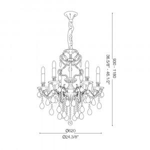Ideal Lux - Baroque - GIOCONDA SP6 - Lampada a sospensione