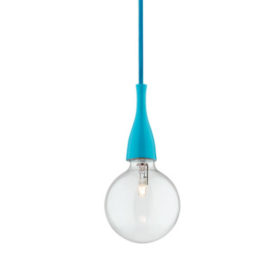 Ideal Lux - Bulb - MINIMAL SP1 - Lampada a sospensione - Azzurro - LS-IL-063614