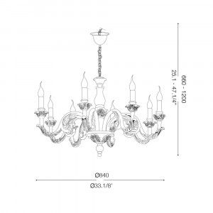 Ideal Lux - Chandelier - Giglio SP8 - Lampada a sospensione