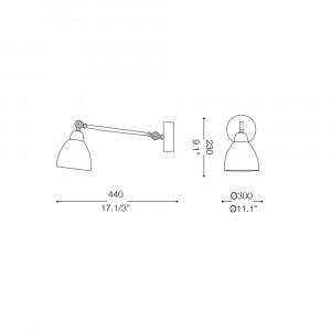Ideal Lux - Industrial - Newton AP1 - Applique con diffusore orientabile in metallo