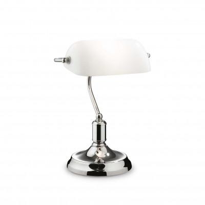 Ideal Lux - Vintage - LAWYER TL1 - Lampada da ufficio - Bianco/Natural/Cromo - LS-IL-045047