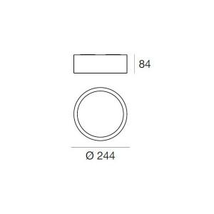 Linea Light - Box - Box SR AP PL LED M - Plafoniera rotonda misusa M