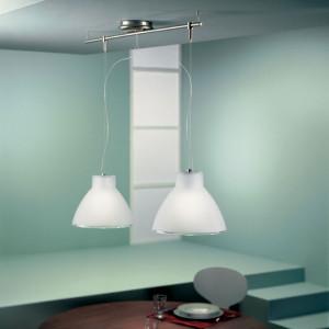 Linea Light - Campana - Campana - Lampada a sospensione due luci - Nichel satinato - LS-LL-4432