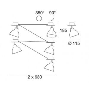 Linea Light - Campana - Campana - Plafoniera regolabile da interni a 5 luci