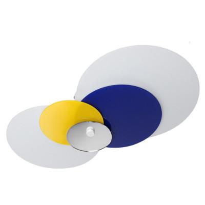 Linea Light - Hula hoop - Hula Hoop - Plafoniera soffitto 4 vetri regolabili M - Blu/Giallo specchio - LS-LL-90212