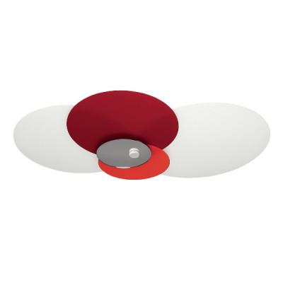 Linea Light - Hula hoop - Hula Hoop - Plafoniera soffitto 4 vetri regolabili M - Rosso/Arancio specchio - LS-LL-90235