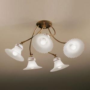 Linea Light - Mami - Lampada a soffitto in ceramica decorata Mami M