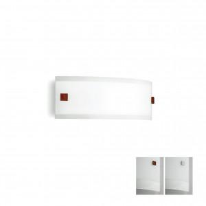 Linea Light - Mille - Mille LED AP M - Applique in vetro - Nichel spazzolato/Ciliegio -  - Bianco caldo - 3000 K - Diffusa