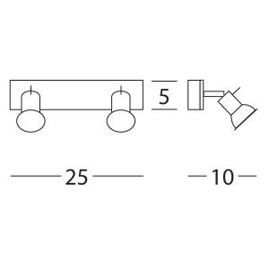 Linea Light - Spotty - Applique a faretti alogeni per parete Spotty