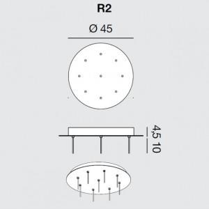 Rotaliana - Furin - Furin R2 - Rosone rotondo per nove lampade