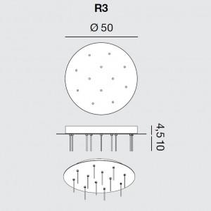 Rotaliana - Furin - Furin R3 - Rosone rotondo per dodici lampade