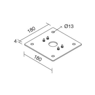 Traddel - Accessori Traddel - Piastra di fissaggio per pali in acciaio inox satinata - Nessuna - LS-LL-60770